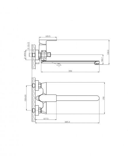 Agger Brilliant A0321100 - Однозахватный смеситель для ванны с душем и длинным поворотным изливом, хром