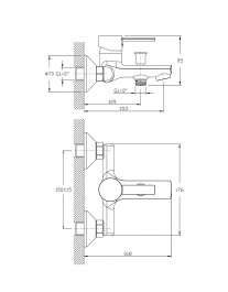 Agger Punctual A1610000 - смеситель для ванной с коротким изливом, хром