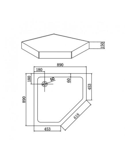Agger A03-090TCR/T - Пятниугольный поодон для душевого уголка