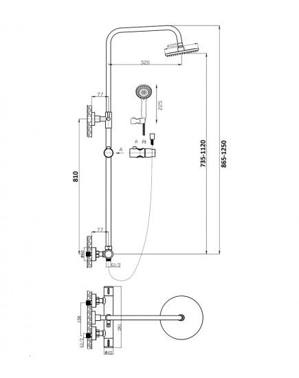 Agger Thermo A2451200 - Душевая система для душа, хром