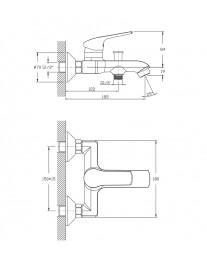 Agger Merry A1310000 - смеситель для ванной с коротким изливом, хром
