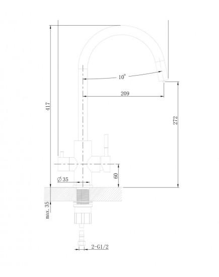 Agger Zest A0700744 - смеситель для кухни с возможностью подачи фильтрованной воды, черный