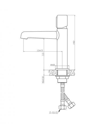 Agger Slim А2202100 - Однозахватный смеситель для раковины, хром