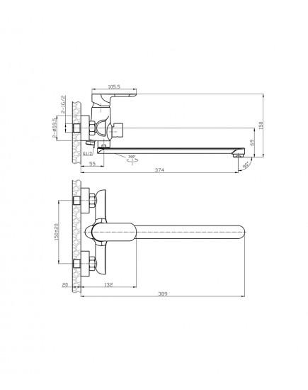 Agger Gorgeous A0221100 - Однозахватный смеситель для ванны с душем и длинным поворотным изливом, хром