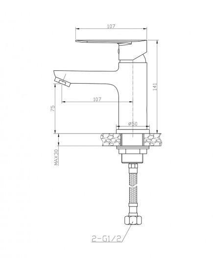 Agger Splendid A0902100 - Однозахватный смеситель для раковины, хром
