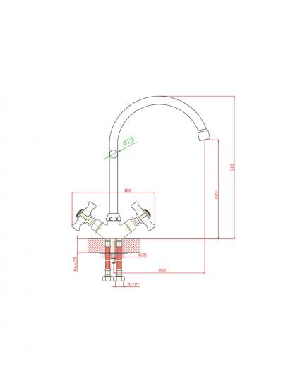 Agger Retro-X A1700000 - Двухзахватный смеситель для кухни с поворотным изливом, хром