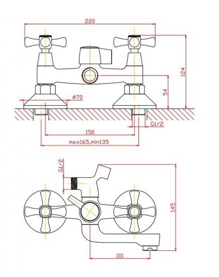 Agger Retro-X A1721288 - Двухзахватный смеситель для ванны с коротким поворотным изливом и душевым набором, бронза