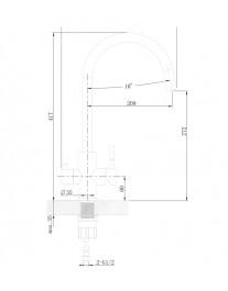 Agger Zest A0700733 - смеситель для кухни с фильтром и поворотным изливом, никель
