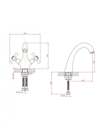 Agger Retro A1902188 - Двухзахватный смеситель для раковины, бронза