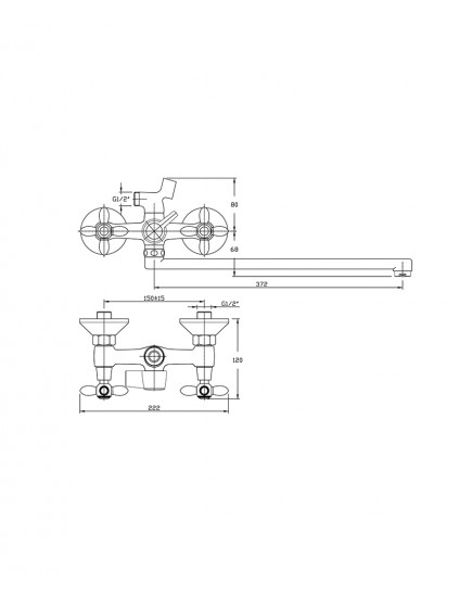 Agger Retro A1921188 - Двухзахватный смеситель для ванны с душем и длинным поворотным изливом, бронза