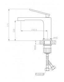 Agger Beauty A2602100 - однозахватный смеситель для раковины, хром
