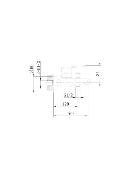 Agger Right A2910000 - однозахватный ванно/душевой смеситель с коротким изливом, хром