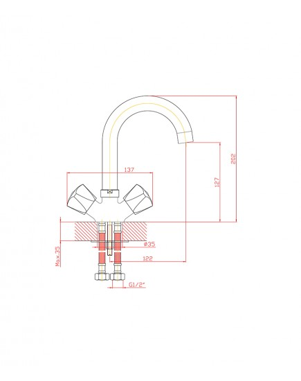 Agger Retro-S A1801100 - Двухзахватный смеситель для раковины с поворотным изливом, хром
