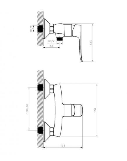Agger Nice A2520000 - смеситель для ванны без излива, хром