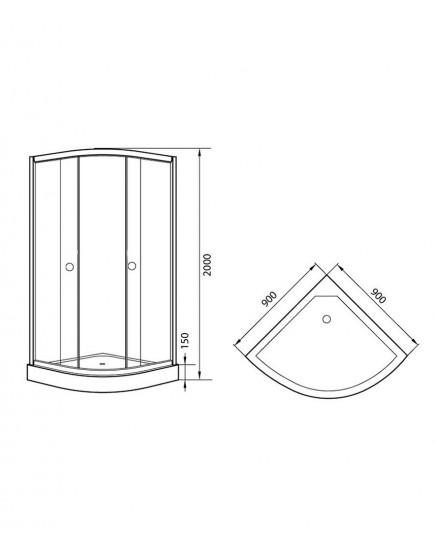 Agger A01-090MCR - душевой уголок с матовым стеклом и поддоном 90х90х200