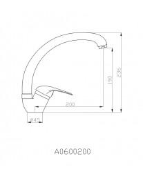 Agger Move A0600200 - Однозахватный смеситель для кухни с поворотным изливом, хром
