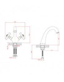 Agger Retro-X A1702100 - Двухзахватный смеситель для раковины, хром