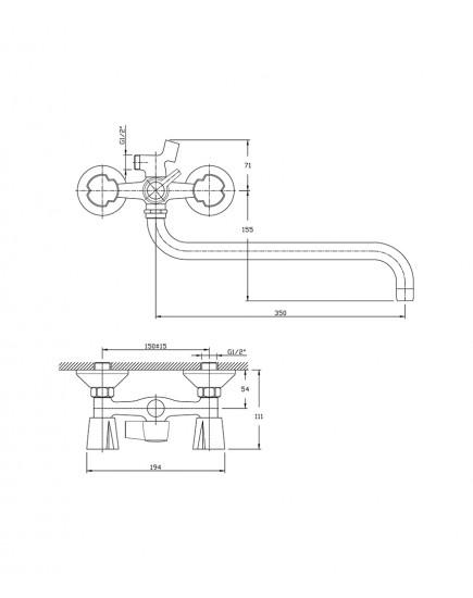 Agger Retro-R A2022100 - Двухзахватный смеситель для ванны с душем и длинным поворотным изливом, хром