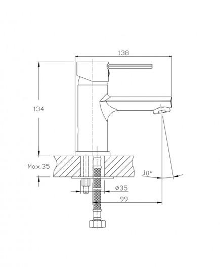 Agger Punctual A1602100 - Однозахватный смеситель для раковины, хром