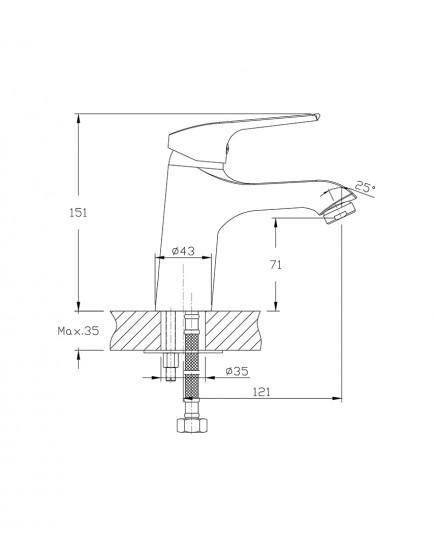 Agger Merry A1302100 - Однозахватный смеситель для раковины, хром
