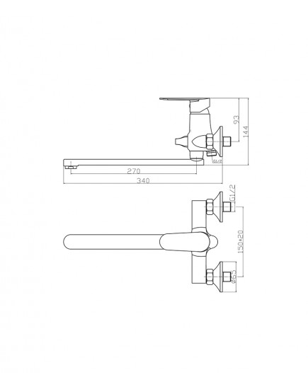 Agger Splendid A0921100 - Однозахватный смеситель для ванны с душем и длинным поворотным изливом, хром