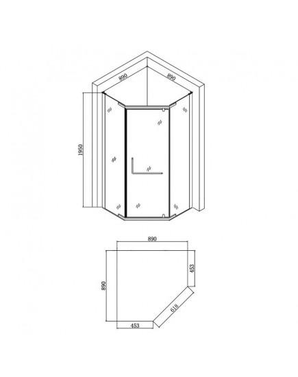Agger A03-090TCR/G - Пятиугольный душевой уголок без поддона