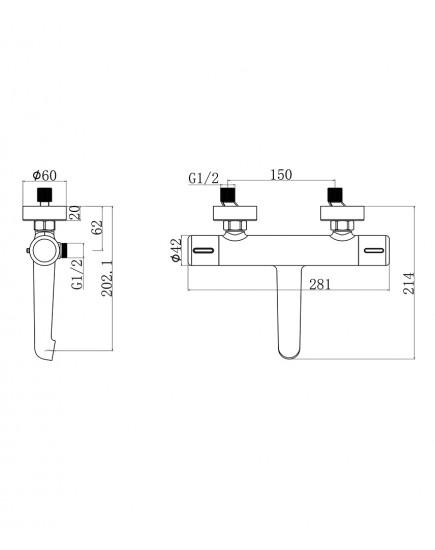 Agger Thermo A2460000 - термостатический смеситель для ванны/душа с керамическим дивертором и коротким изливом, хром