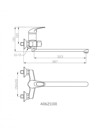 Agger Move A0621100 - Однозахватный смеситель для ванны с душем и длинным поворотным изливом, хром