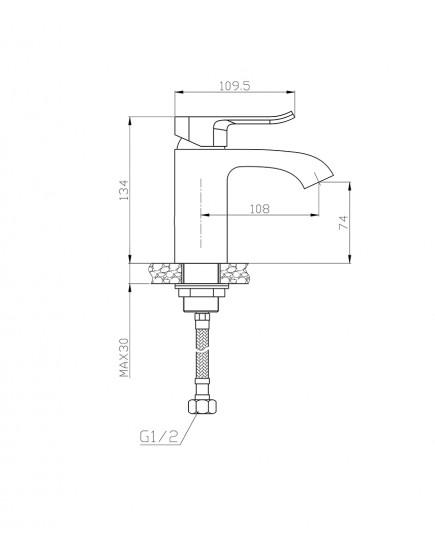 Agger Happy A0402100 - Однозахватный смеситель для раковины, хром