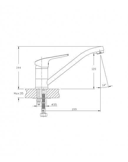 Agger Merry A1300000 - Однозахватный смеситель для кухни с длинным поворотным изливом, хром