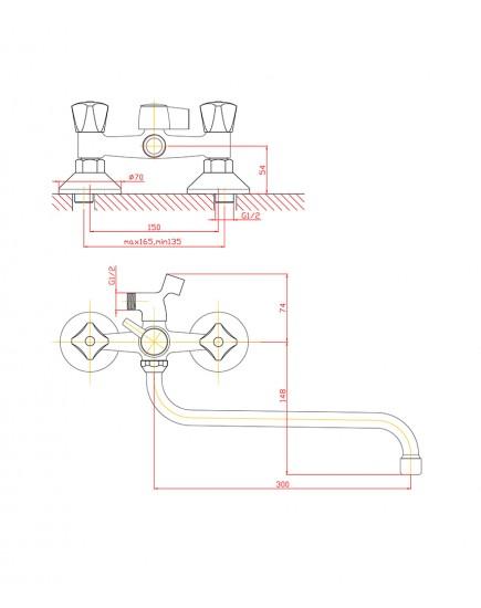 Agger Retro-S A1822200 - Двухзахватный смеситель для ванны с душем и длинным поворотным изливом, хром