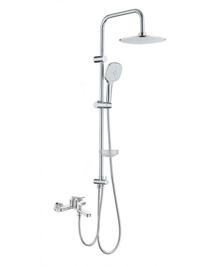 Agger A2695000 - термостатическая душевая система со смесителем и тропическим душем, хром