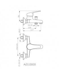 Agger Exact A2110000 - Однозахватный смеситель для ванной с коротким изливом, хром