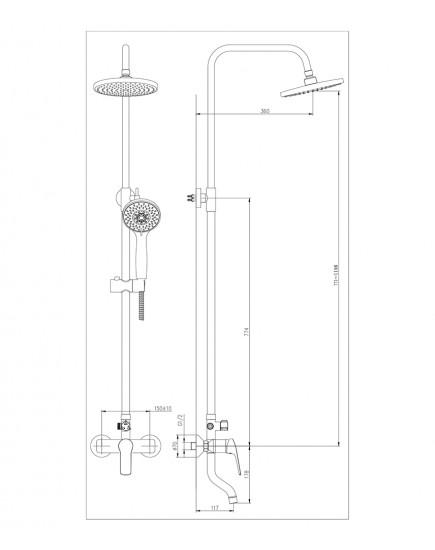 Agger Merry A1393300 - душевая система со смесителем, поворотным изливом и тропическим душем, хром