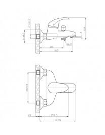 Agger Proud A0810000 - смеситель для ванной с коротким изливом, хром