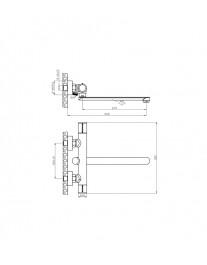 Agger Slim A2221100 - Однозахватный смеситель для ванны с длинным поворотным изливом, хром