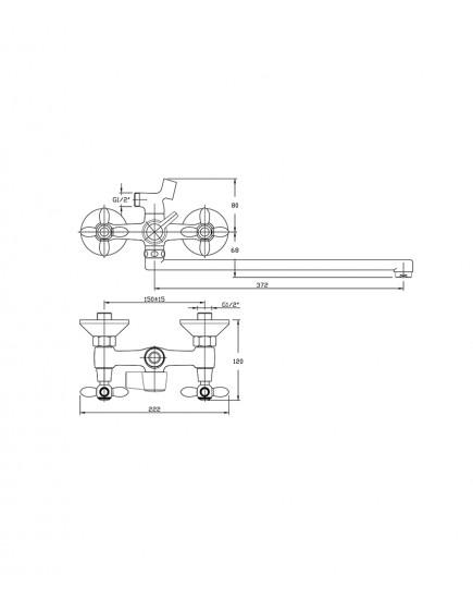 Agger Retro A1921100 - Двухзахватный смеситель для ванны с душем и длинным поворотным изливом, хром