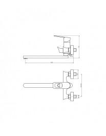 Agger Brave A2321100 - Однозахватный смеситель для ванны с душем и длинным поворотным изливом, хром