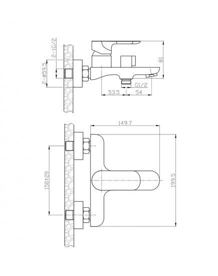 Agger Gorgeous A0210000 - Однозахватный смеситель для ванной с коротким изливом, хром
