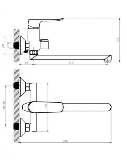 Agger Nice A2521100 - смеситель для ванны с душем и длинным поворотным изливом, хром