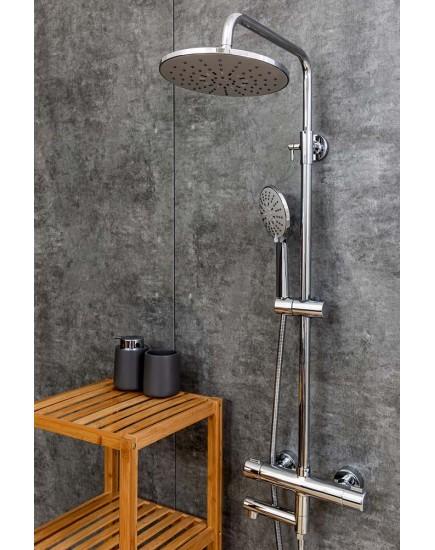 Agger Thermo A2461100 - термостатическая душевая система со смесителем и тропическим душем, хром