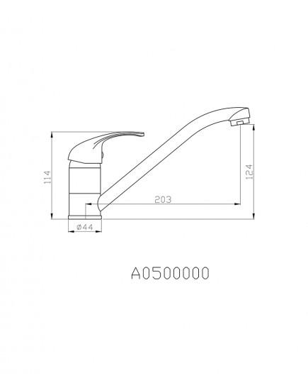 Agger Move A0600000 - cмеситель для кухни с длинным поворотным изливом, хром