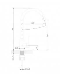 Agger Splendid A0900133 - Однозахватный смеситель для кухни с поворотным изливом, никель