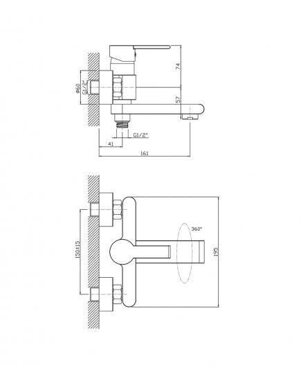 Agger Strong A1410000 - Однозахватный смеситель для ванны с душем и выдвижным изливом, хром