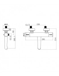 Agger Thermo A2460000 - термостатический смеситель для ванной с коротким изливом, хром