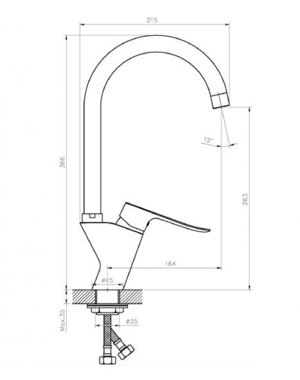 Agger Nice A2500200 - Однозахватный смеситель для кухни с поворотным изливом, хром