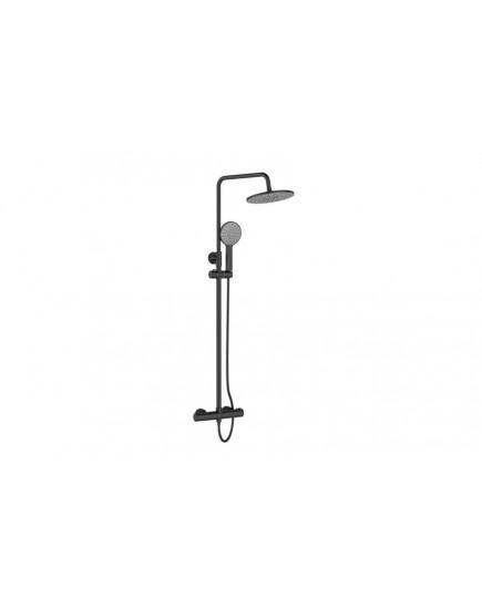 Agger Thermo A2451244 -термостатическая душевая стойка со смесителем без излива и тропическим душем, черный цвет