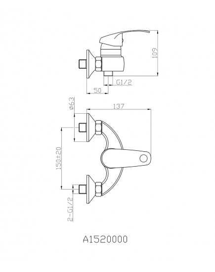 Agger Glad A1520000 - смеситель для ванны без излива, хром