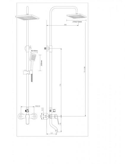 Agger Merry A1394400 - душевая система со смесителем, поворотным изливом и тропическим душем, хром