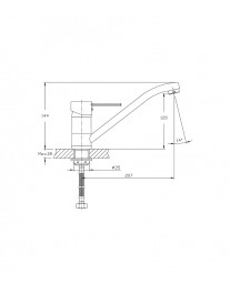 Agger Punctual A1600000 - Однозахватный смеситель для кухни с длинным поворотным изливом, хром